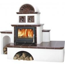 Керамическая печь OXFORD, с теплообменником (коричневый левая)